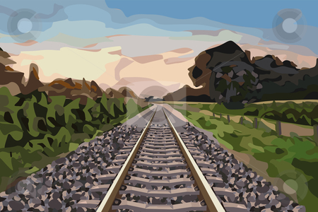 Rural railway track stock vector clipart, Nice scenery with a rural railway track at sunset by Karin Claus