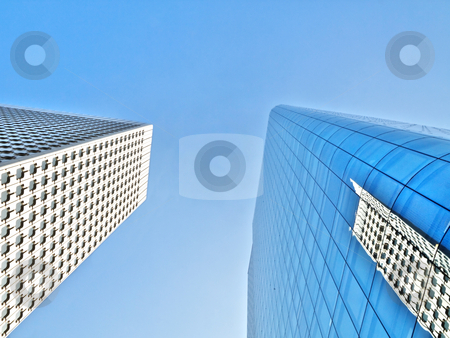 Two skyscrapers stock photo, Two  modern skyscrapers with reflection by Laurent Dambies