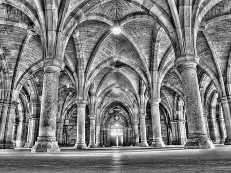 Cloister stock photo, Glasgow university cloister HDR processed by Laurent Dambies