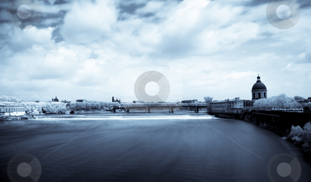 Toulouse panoramic infrared cityscape stock photo, Toulouse panoramic infrared cityscape blue toned from bridge of the Catalans by Laurent Dambies