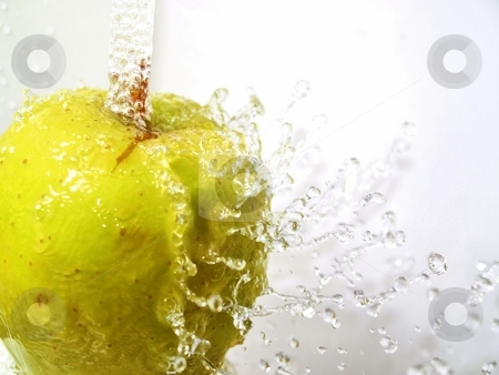 Sparkling apple stock photo, A green apple under a water fall, water drops bouncing off and frozen in midair by Arve Bettum