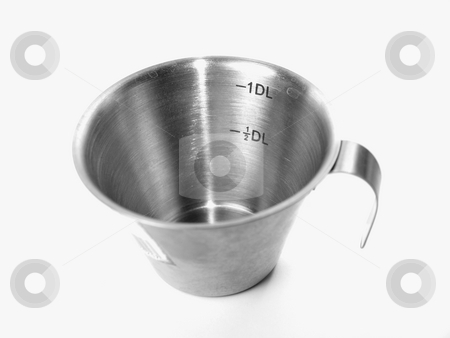 Measurement cup stock photo, 1 DL measurement cup for baking and cooking by Arve Bettum