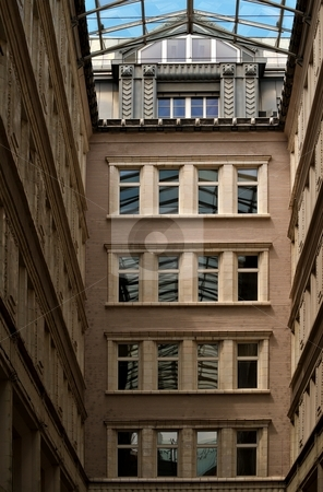 Passage stock photo, Passage, glass roof over old building yard by Juraj Kovacik