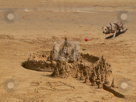 Spanish sandcastle stock photo, Dog chasing a ball, rushing towards a beautifully made sandcastle on a beach on spain by Casinozack