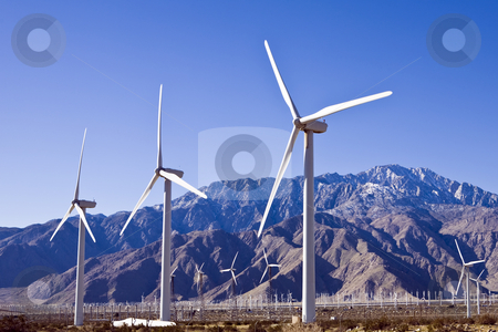 Wind Farm Hundreds stock photo, Three wind turbines loom above a field of hundreds such power generators by Bart Everett