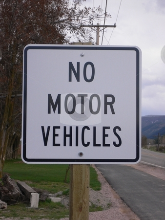 No Motor Vehicles stock photo, Sign found on walking and bike path by JJ Havens