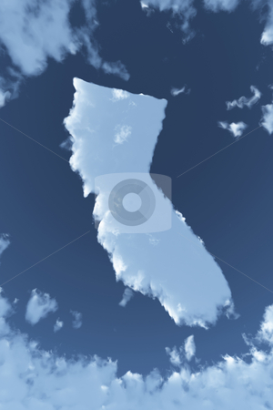 California in Clouds stock photo, The shape of the state of California in clouds by Allan Tooley
