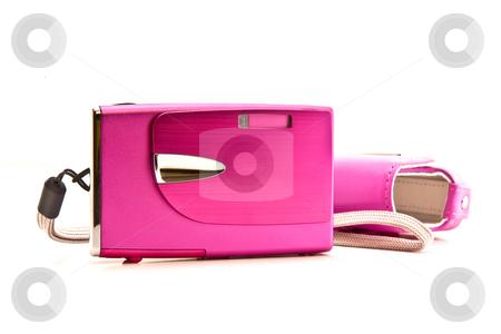 Compact camera stock photo, Pink compact camera by Jon Le-Bon