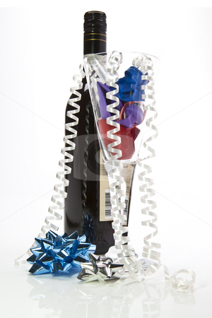 Party Time stock photo, Party Time fun with bows wine and champagne glass by Jon Le-Bon