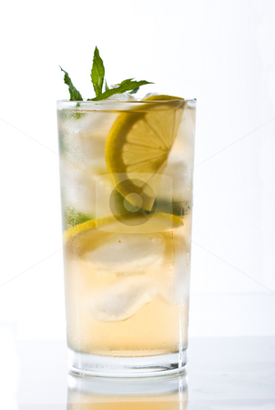 Cold tea stock photo, Drink series: cold tea with ice and mint by Gennady Kravetsky