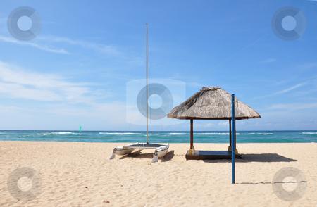 Nusa Dua Beach stock photo, Boat on the empty Nusa Dua beach, Bali, Indonesia by Daniel Rosner