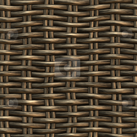 Wicker work pattern stock photo, Seamless 3d texture of brown interweaved basket by Wino Evertz