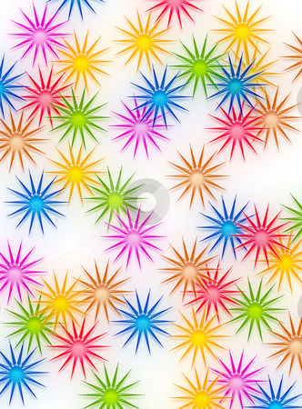 Sunny background stock photo, Texture of shiny sun shapes or flowers in bright colors by Wino Evertz