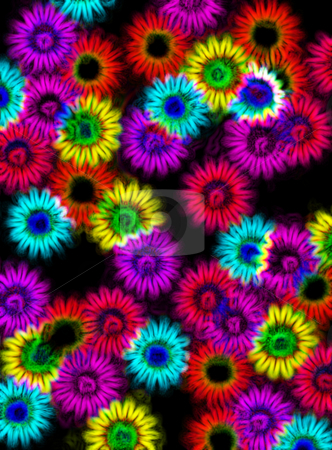 Flower shapes on black stock photo, Abstracted impressions of flower sahpes in neon colors on black by Wino Evertz