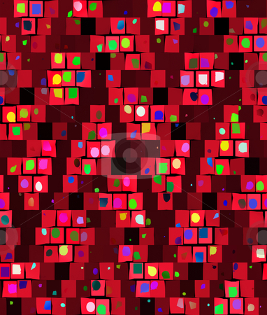 Grunge festive pattern stock photo, Seamless texture of abstracted confetti on red  blocks by Wino Evertz