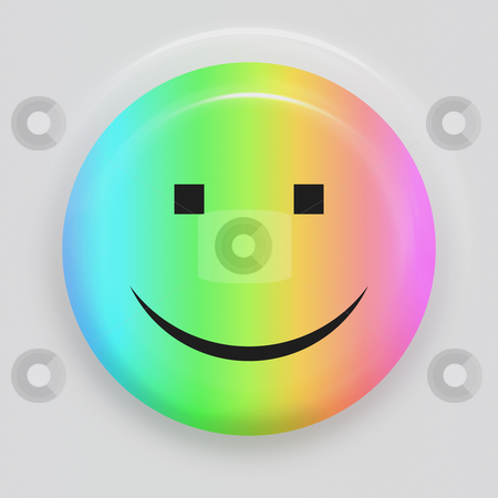 Rainbow smiley stock photo, Multicolored smiling face symbol on white background by Wino Evertz