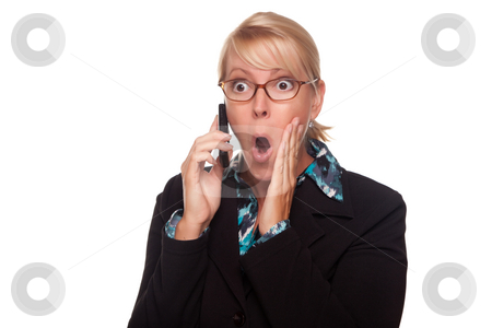 Blonde Woman Shocked on Cell Phone stock photo, Blonde Woman Shocked on Cell Phone Isolated on a White Background. by Andy Dean