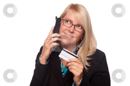 Beautiful Blonde Woman with Phone and Credit Card stock photo, Beautiful Blonde Woman with Phone and Credit Card Isolated on a White Background. by Andy Dean