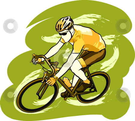 Cycleist stock vector clipart, A vector illustration of an athlete riding a bicycle. by Erasmo Hernandez