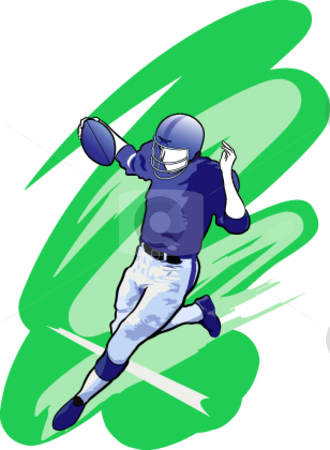 Football Player stock vector clipart, A vector illustration of a football player executing a touchdown. by Erasmo Hernandez