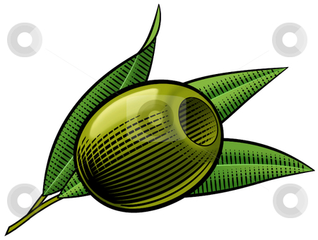Pitted Olive  stock vector clipart, A vector illustration of a green pitted olive. by Erasmo Hernandez