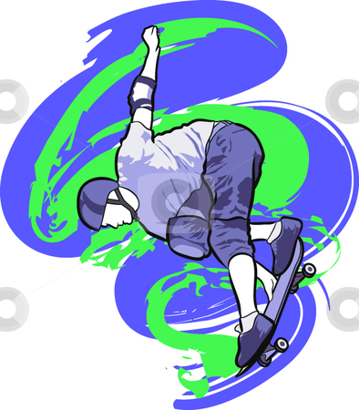 Skateboarding stock vector clipart, A digital illustration of an athlete skateboarding. by Erasmo Hernandez