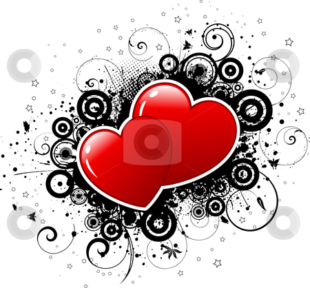Valentines grunge  stock vector clipart, Grunge style background with hearts by Kirsty Pargeter
