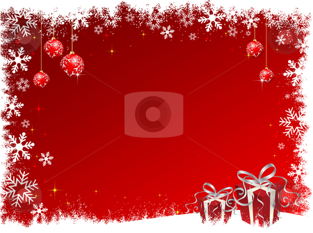 Decorative christmas background stock vector clipart, Decorative Christmas background with gifts by Kirsty Pargeter