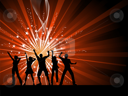 People dancing on starburst background stock vector clipart, Silhouettes of people dancing on starry background by Kirsty Pargeter
