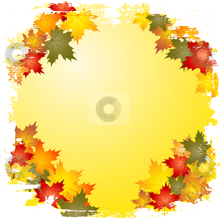 Grunge autumn leaf border stock vector clipart, Grunge style border of autumn leaves by Kirsty Pargeter