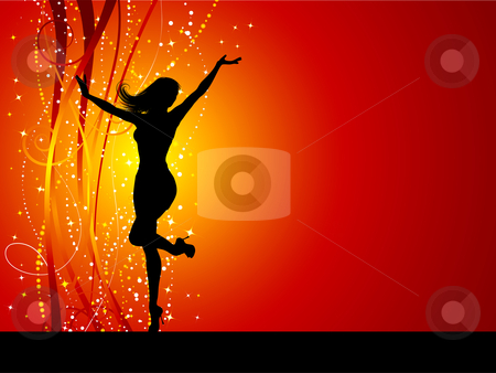Christmas female stock vector clipart, Sexy female dancing on sparkly background by Kirsty Pargeter