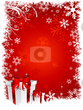 Christmas gifts 2 stock vector clipart, Christmas gifts on snowy background by Kirsty Pargeter