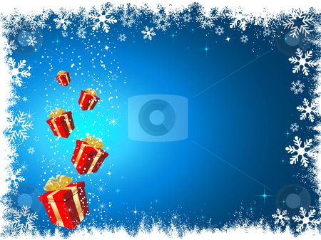 Christmas gifts stock vector clipart, Christmas gifts on snowy background by Kirsty Pargeter
