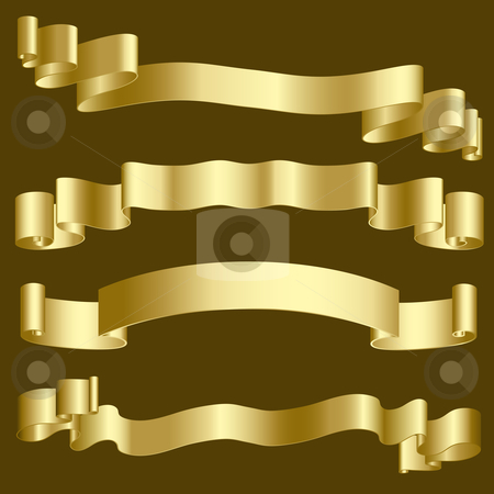 Gold ribbons and banners stock vector clipart, Metallic gold ribbons and banners by Kirsty Pargeter