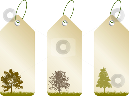 Leaf tags stock vector clipart, Tags with tree silhouettes by Kirsty Pargeter