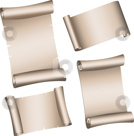 Scrolls stock vector clipart, Various designs of parchment scrolls by Kirsty Pargeter