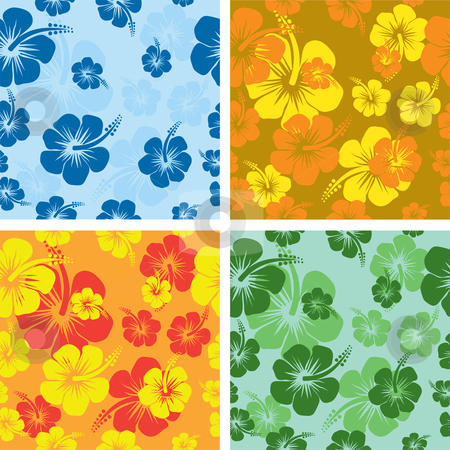 Hibiscus flower background stock vector clipart, Seamless tile Hibiscus flower backgrounds by Kirsty Pargeter
