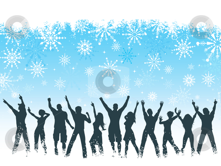 Christmas party background stock vector clipart, Silhouettes of people dancing on snowflake background by Kirsty Pargeter