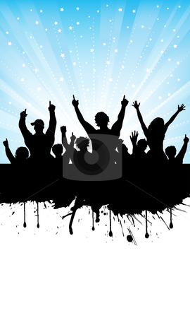 Excited audience stock vector clipart, Silhouette of an excited audience on grunge background by Kirsty Pargeter