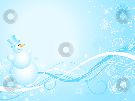 Happy Snowman stock vector clipart, Happy snowman on decorative Christmas background by Kirsty Pargeter