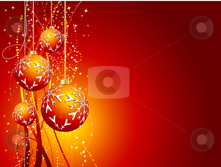 Christmas decorations stock vector clipart, Decorative Christmas background by Kirsty Pargeter