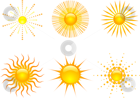 Sun icons stock vector clipart, Various styles of sun icons by Kirsty Pargeter