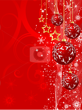 Christmas background stock vector clipart, Decorative Christmas background with hanging baubles by Kirsty Pargeter
