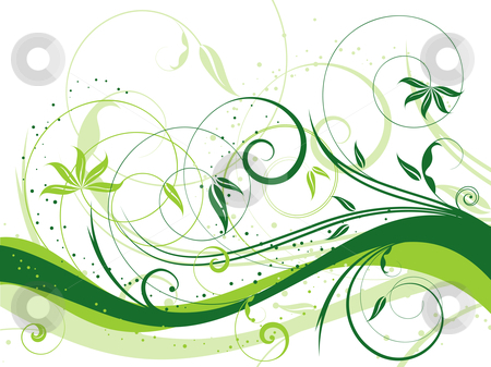 Floral abstract stock vector clipart, Decorative floral abstract background by Kirsty Pargeter