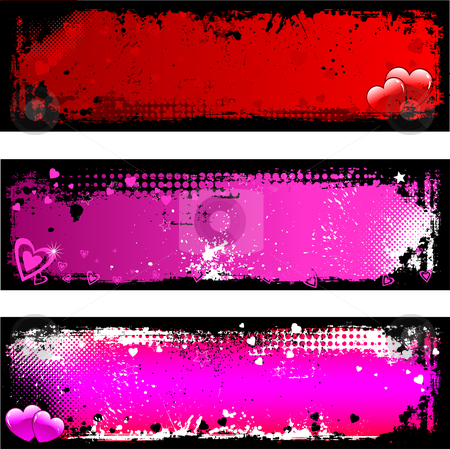 Grunge Valentines backgrounds stock vector clipart, Grunge Valentines backgrounds by Kirsty Pargeter