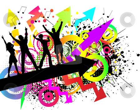 Grunge party stock vector clipart, People dancing on colourful grunge background by Kirsty Pargeter