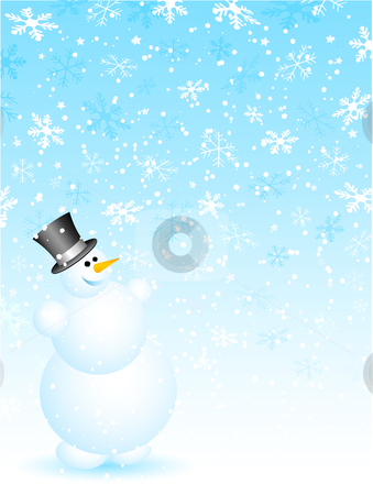 Snowman on snowy background stock vector clipart, Happy snowman on snowy background by Kirsty Pargeter