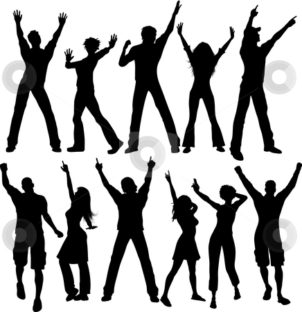 Party people silhouettes stock vector clipart, Silhouettes of people dancing by Kirsty Pargeter