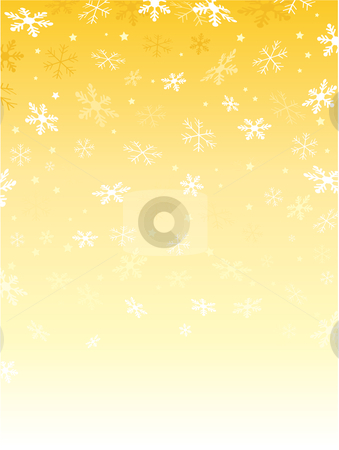 Golden snowflakes stock vector clipart, Background of falling snowflakes and stars by Kirsty Pargeter