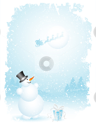 Snowman and santa stock vector clipart, Happy snowman and santa by Kirsty Pargeter